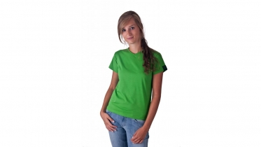 T-shirt dames groen V-hals Bio & FT